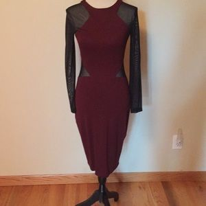 French Connection Red and Black  midi dress